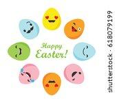 banner happy easter  vector... | Shutterstock .eps vector #618079199
