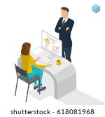 isometric people working in... | Shutterstock .eps vector #618081968