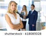 blonde woman computer looking... | Shutterstock . vector #618085028