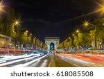 illuminated arc de triomphe and ... | Shutterstock . vector #618085508