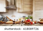 baking ingredients placed on... | Shutterstock . vector #618089726
