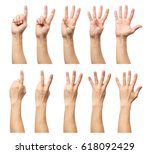 five counting male hands... | Shutterstock . vector #618092429