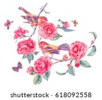 pair of birds on a blooming... | Shutterstock . vector #618092558