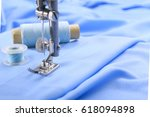 the sewing machine's foot with... | Shutterstock . vector #618094898