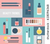 beauty makeup flat vector icon... | Shutterstock .eps vector #618096368