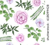 seamless pattern of watercolor... | Shutterstock . vector #618099428