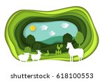 paper art carving with green... | Shutterstock .eps vector #618100553