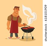 bbq party. happy smiling man... | Shutterstock .eps vector #618101909