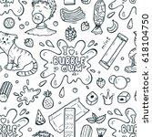 bubble gum seamless pattern.... | Shutterstock .eps vector #618104750