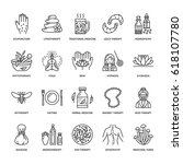 alternative medicine line icons.... | Shutterstock .eps vector #618107780