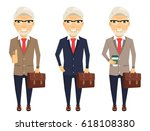 an old man in a business suit.... | Shutterstock .eps vector #618108380