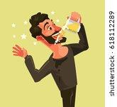 happy man character drinks beer ...   Shutterstock .eps vector #618112289