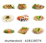 set of festive meals of meat... | Shutterstock . vector #618118574