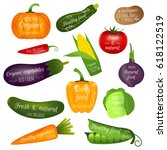 set of vegetables labels with... | Shutterstock .eps vector #618122519