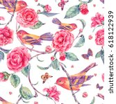 watercolor seamless pattern... | Shutterstock . vector #618122939