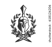 military symbol  spartan helmet ... | Shutterstock .eps vector #618126206