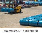oil barrels blue  chemical... | Shutterstock . vector #618128120