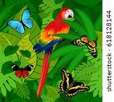 seamless vector tropical... | Shutterstock .eps vector #618128144