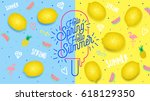 Spring Summer poster, banner in trendy 80s-90s Memphis style. Lemon vector illustration, lettering and colorful design for poster, card, invitation. Easy editable for Your design. | Shutterstock vector #618129350