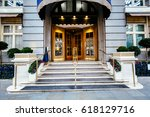 Stock photo luxury five star hotel entrance door most expensive hotel in london uk 618129716
