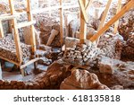 strange carvings and  steles in ... | Shutterstock . vector #618135818