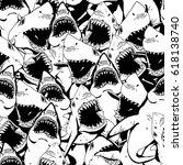 Angry Shark Seamless Pattern....