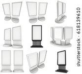 lcd screen stand set. blank... | Shutterstock . vector #618139610