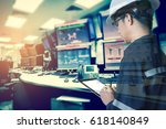 double exposure of  engineer or ...   Shutterstock . vector #618140849