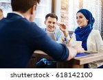 cheerful international students ... | Shutterstock . vector #618142100