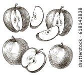 set of hand drawn apple.... | Shutterstock .eps vector #618142838