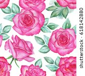 seamless floral pattern with... | Shutterstock . vector #618142880