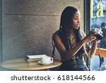 afro american hipster girl with ... | Shutterstock . vector #618144566