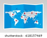 folded world map with airplanes ... | Shutterstock .eps vector #618157469