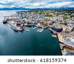 view of a marina in tromso ... | Shutterstock . vector #618159374
