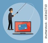 cyber thief  hacker  holding... | Shutterstock .eps vector #618162710