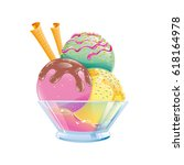 three color ice cream with... | Shutterstock .eps vector #618164978