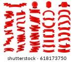 ribbon vector icon set on white ... | Shutterstock .eps vector #618173750