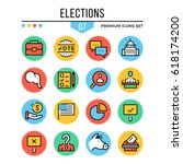elections icons. modern thin...