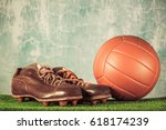 retro outdated soccer spike... | Shutterstock . vector #618174239