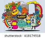 hipster hand drawn crazy doodle ...   Shutterstock .eps vector #618174518