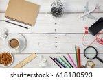 office desk white wood table of ... | Shutterstock . vector #618180593