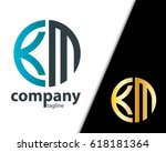initial letter km with linked... | Shutterstock .eps vector #618181364