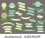 set of green vintage ribbons... | Shutterstock . vector #618190199