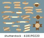 set of brown vintage ribbons... | Shutterstock . vector #618190220