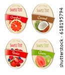 set of labels of berries and...   Shutterstock .eps vector #618195794