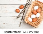 White And Brown Eggs In The...