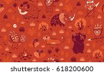 seamless patterns with cartoon... | Shutterstock .eps vector #618200600