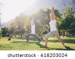 yoga at park. senior family... | Shutterstock . vector #618203024