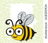 cute cartoon bee and green...   Shutterstock .eps vector #618203924