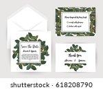 wedding invitation flower card... | Shutterstock .eps vector #618208790